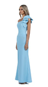 Sue Frill Gown with one shoulder in sky blue side