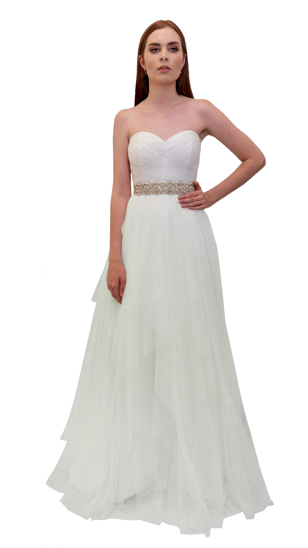 Bariano Bridal Layered Tulle Ball Gown White