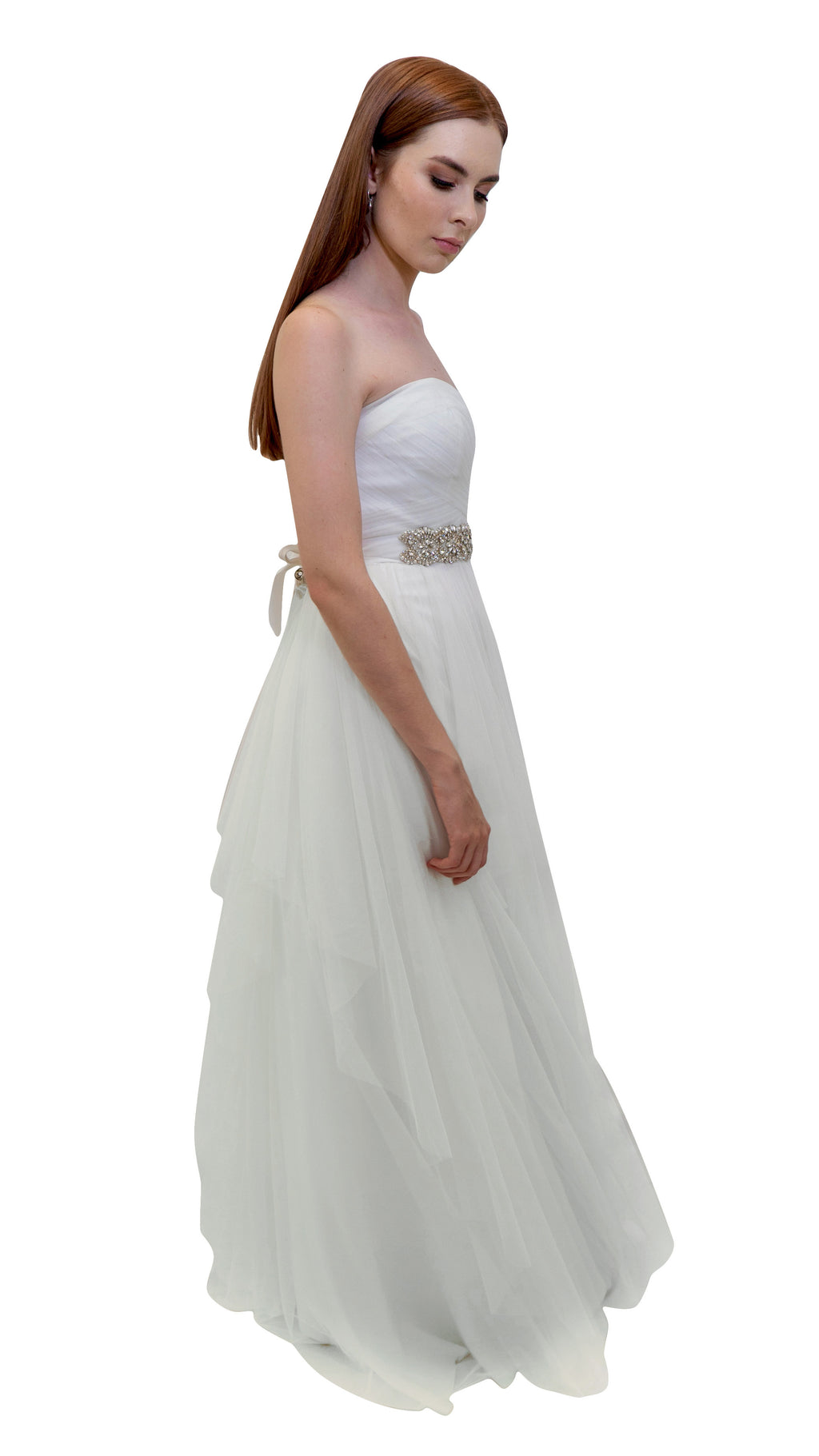 Bariano Bridal Layered Tulle Ball Gown White side
