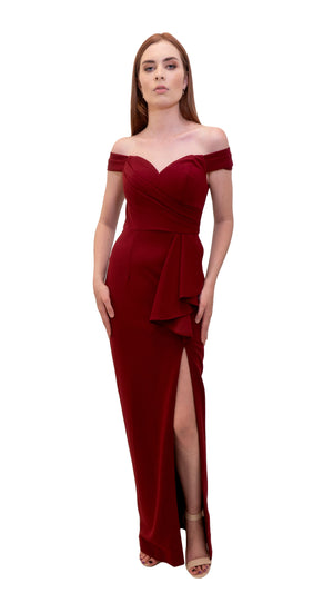 Bariano Eloise Off shoulder dress Burgundy