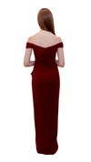 Bariano Eloise Off shoulder dress back Burgundy