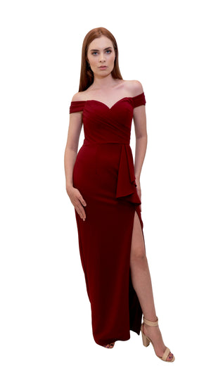 Bariano Eloise Off shoulder dress side Burgundy
