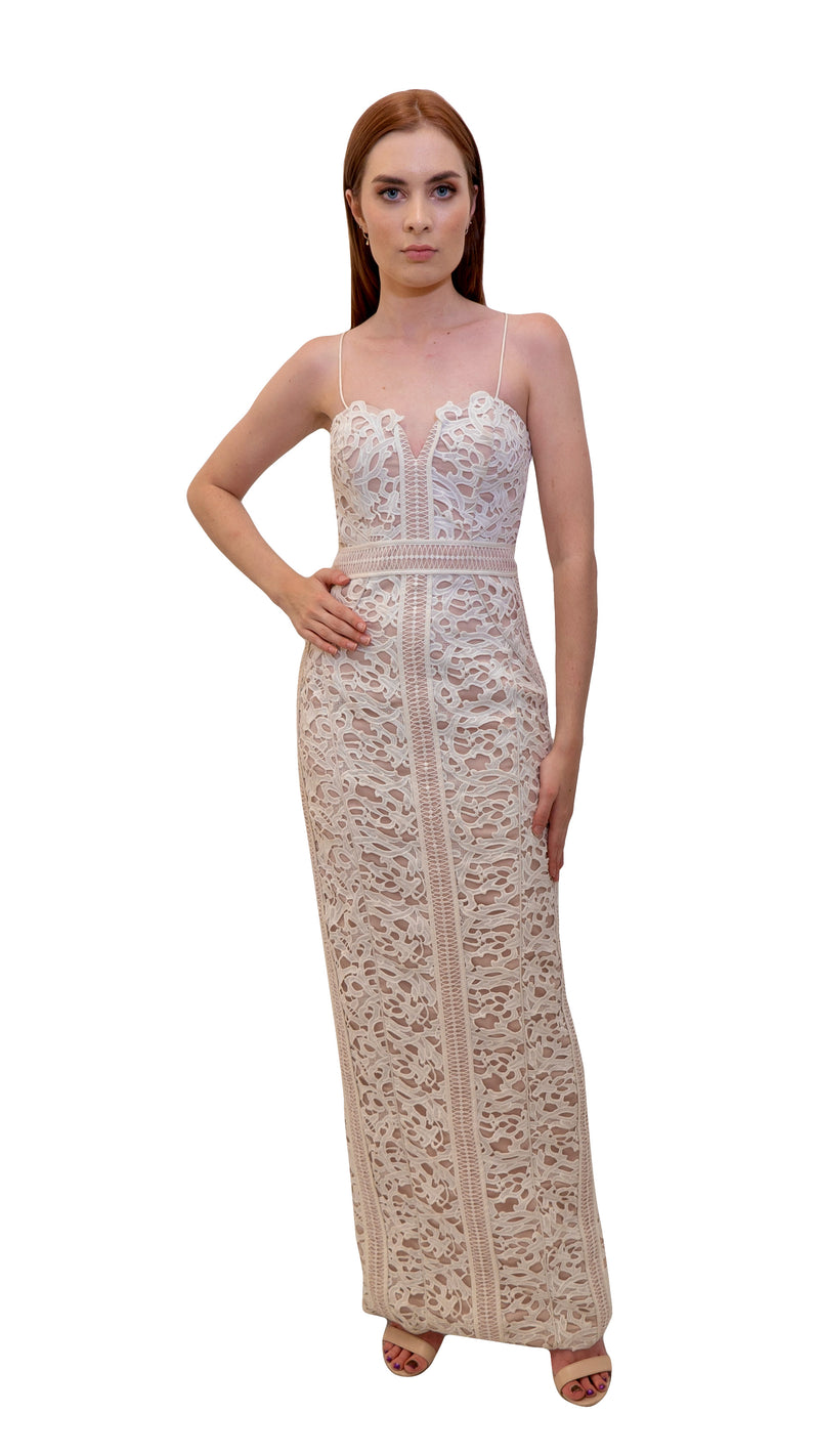 Bariano Emma Lace gown white front