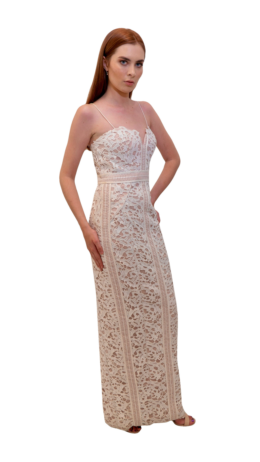 Bariano Emma Lace gown white side
