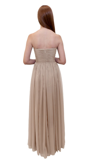 Bariano Gathered Maxi dress Champagne back
