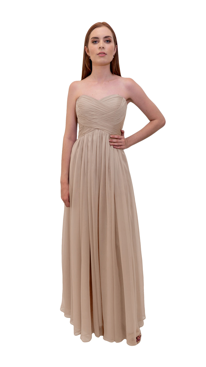 Bariano Gathered Maxi dress Champagne front