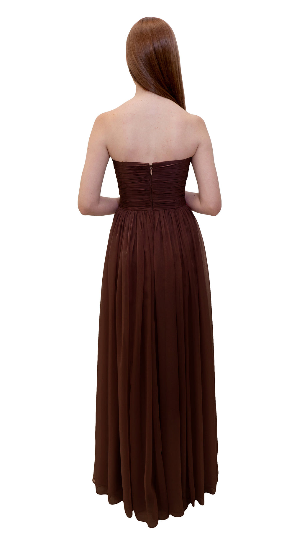 Bariano Gathered Maxi dress Chocolate back