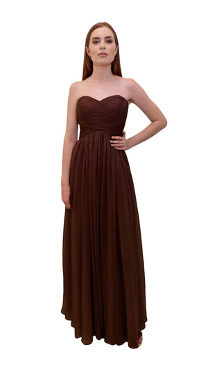 Bariano Gathered Maxi dress Chocolate front