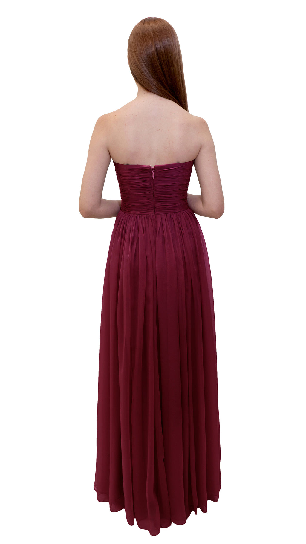 Bariano Gathered Maxi dress Cranberry back