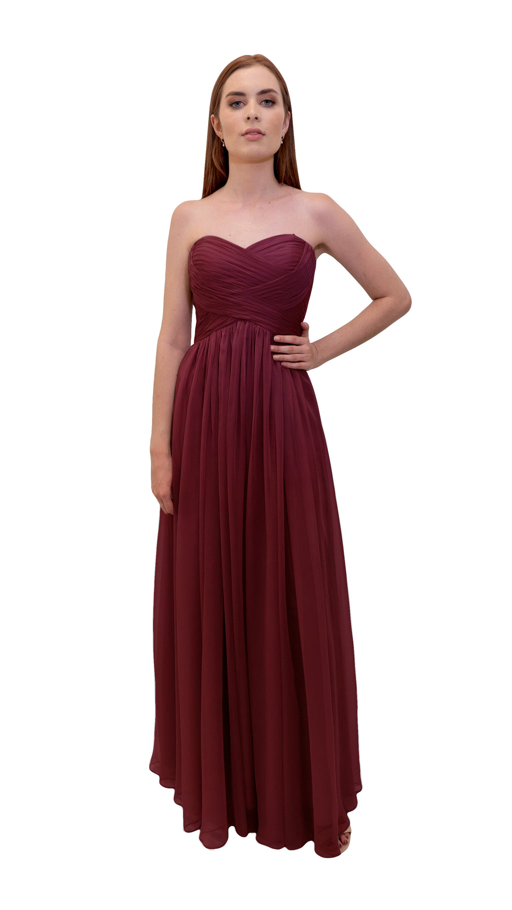 Bariano Gathered Maxi dress Cranberry front