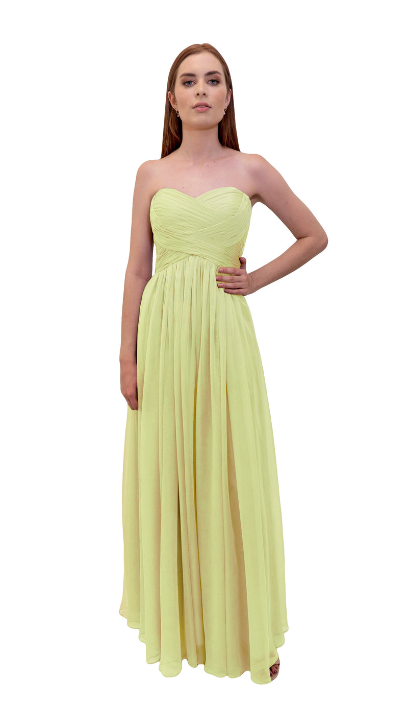Bariano Gathered Maxi dress Pale Yellow front