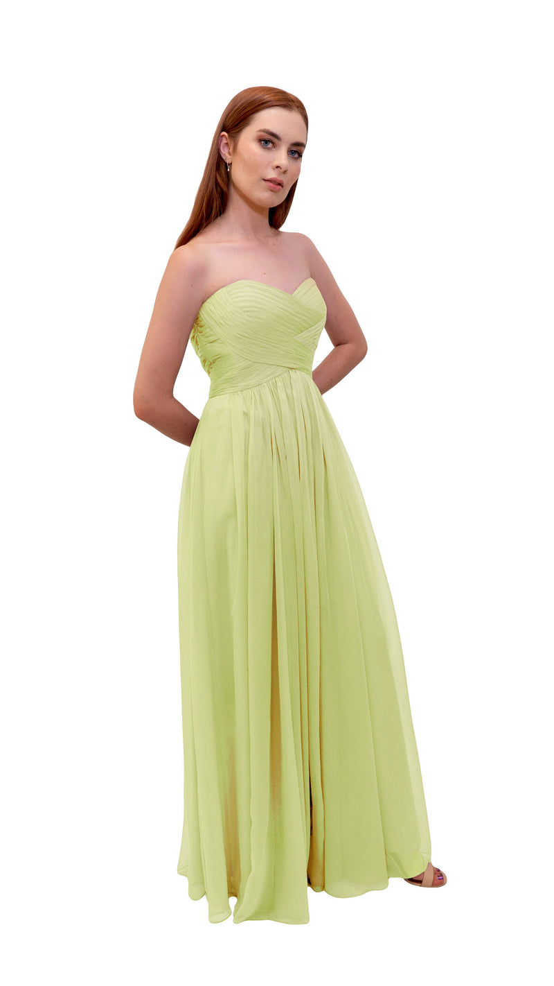 Bariano Gathered Maxi dress Pale Yellow side