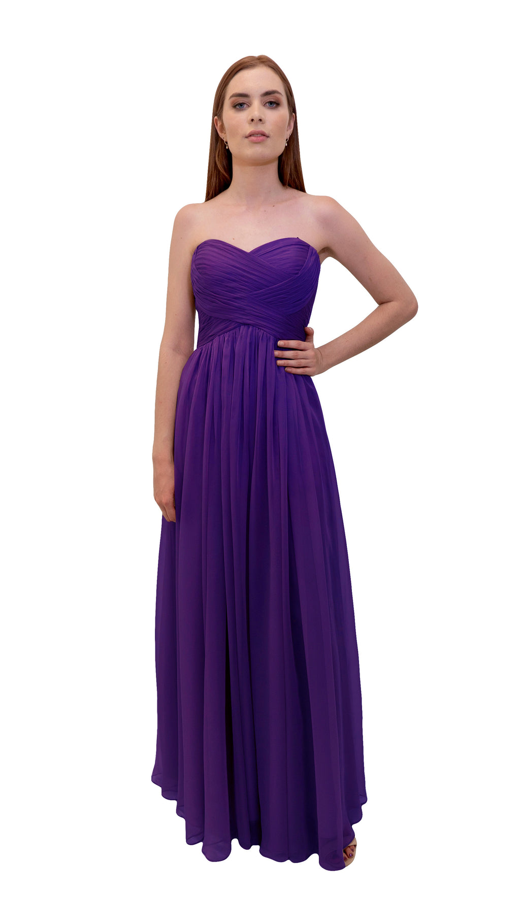 Bariano Gathered Maxi dress Purple front