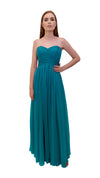 Bariano Gathered Maxi dress Teal front