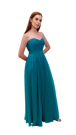Bariano Gathered Maxi dress Teal side