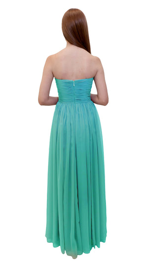 Bariano Gathered Maxi dress Tiffany Green back