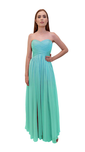 Bariano Gathered Maxi dress Tiffany green front