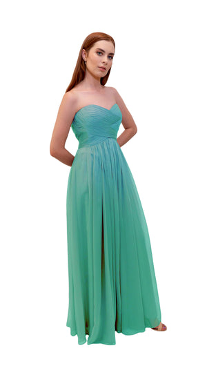Bariano Gathered Maxi dress Tiffany green side