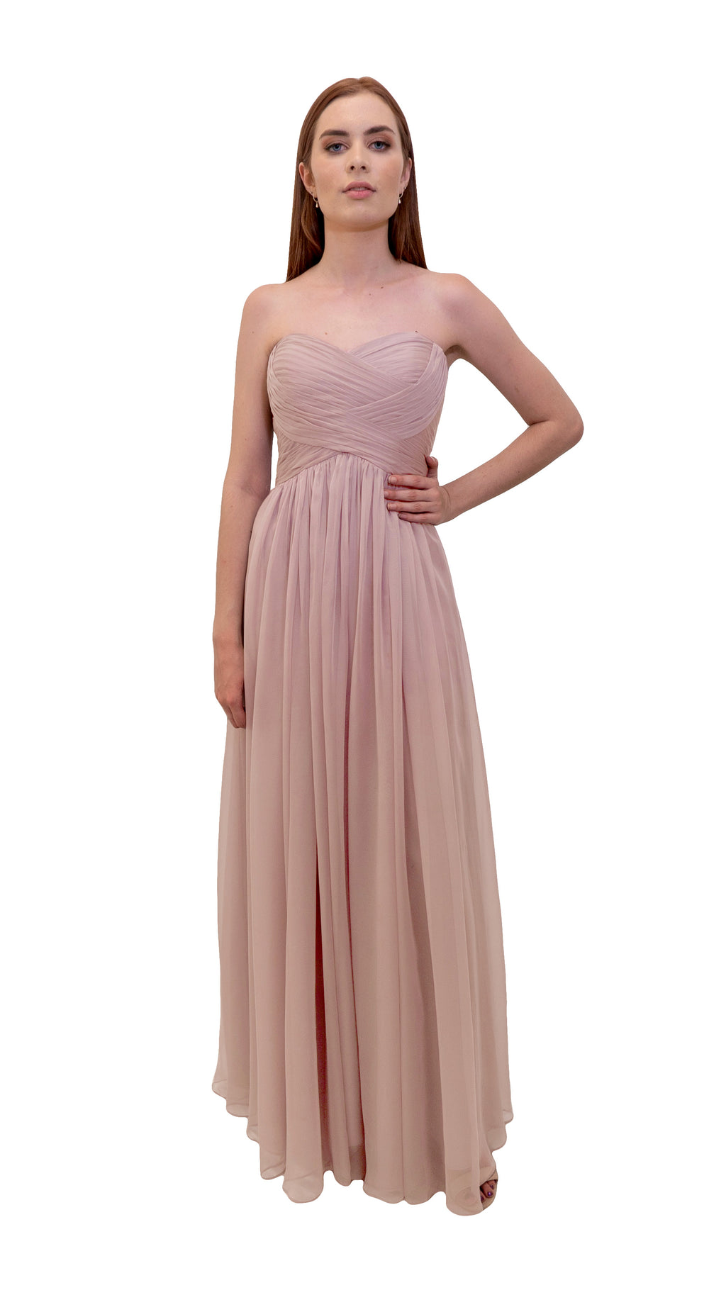 Bariano Gathered Maxi dress Blush front