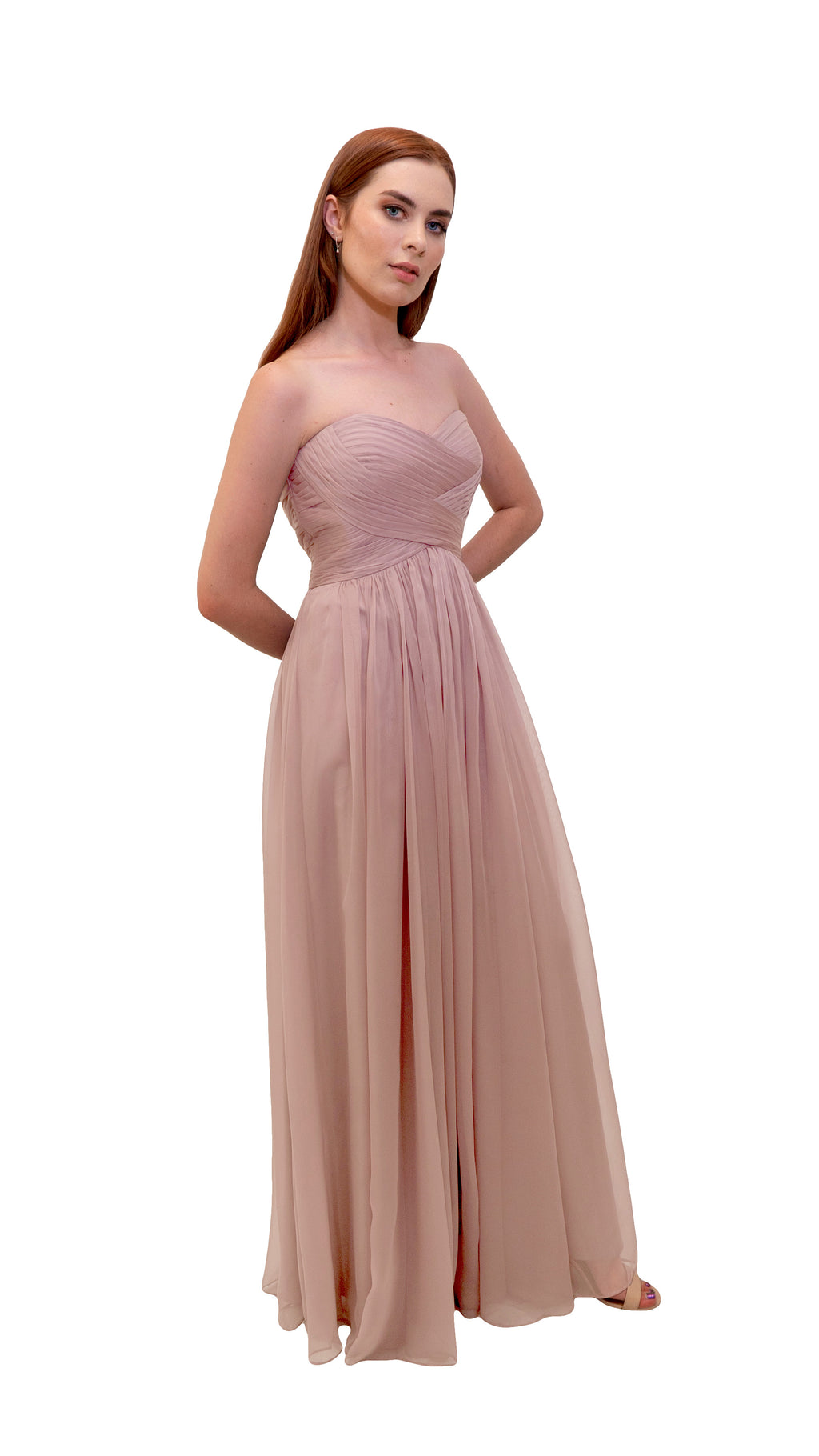 Bariano Gathered Maxi dress Blush side