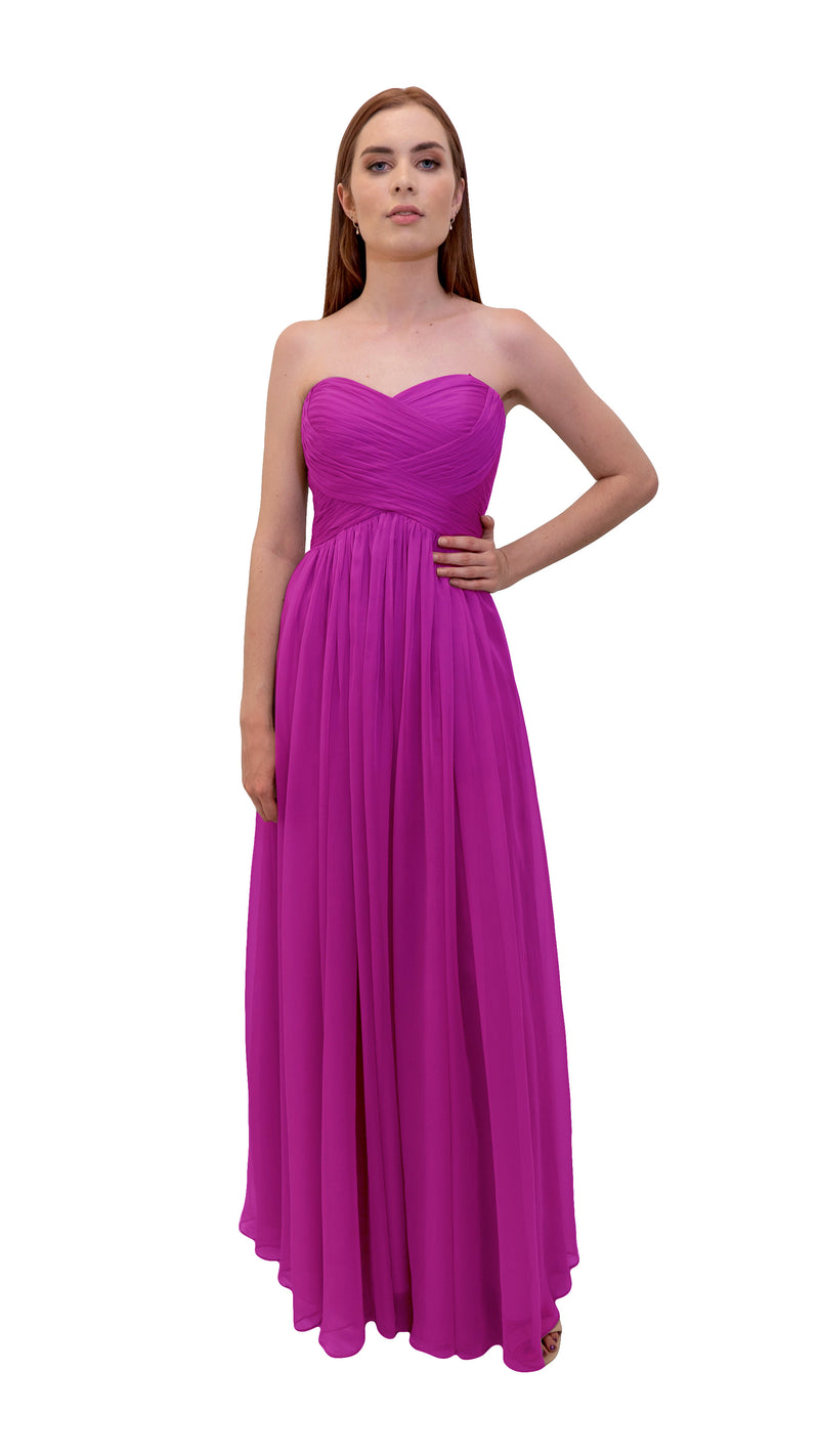 Gathered Maxi Gown - Cerise