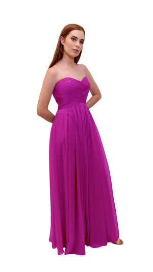 Bariano Gathered Maxi dress Cerise side