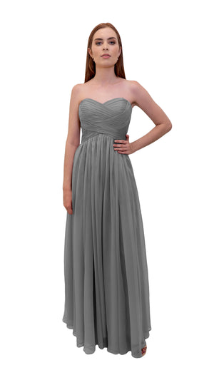 Bariano Gathered Maxi dress Charcoal front