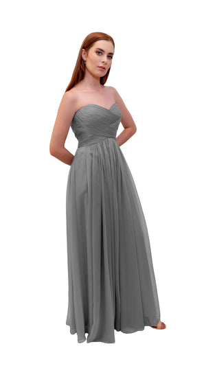 Bariano Gathered Maxi dress charcoal side