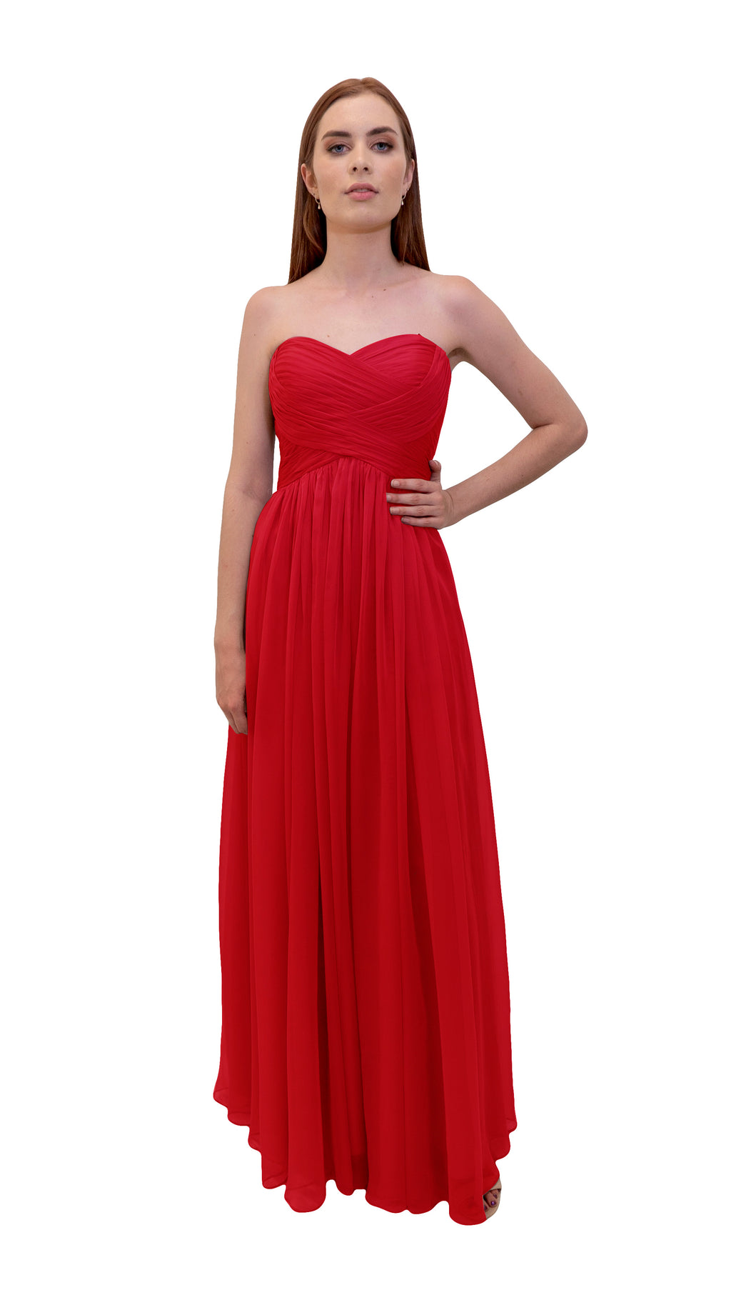 Bariano Gathered Maxi dress Cherry front