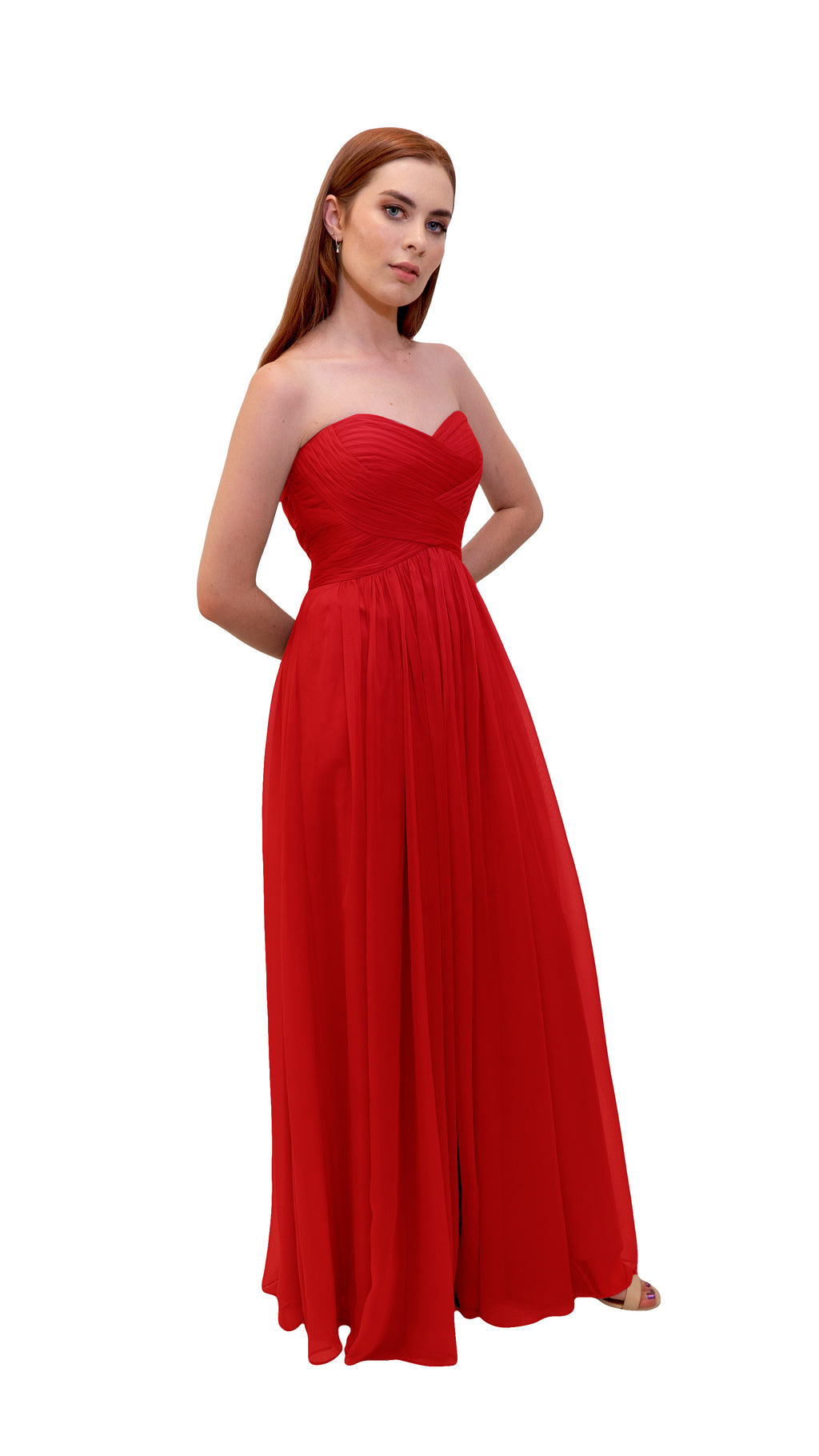 Bariano Gathered Maxi dress Cherry side