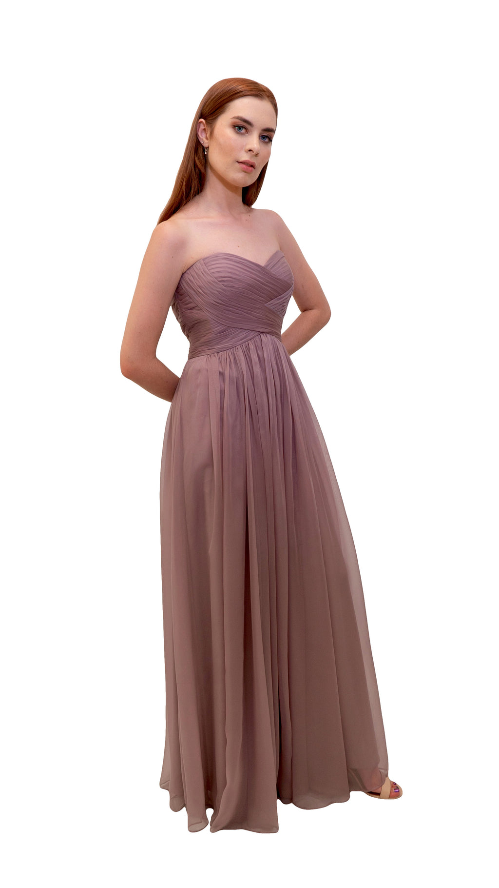 Bariano Gathered Maxi dress Dusty Pink Side