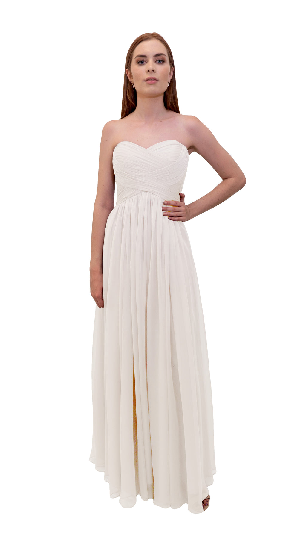 Bariano Gathered Maxi dress Ivory front