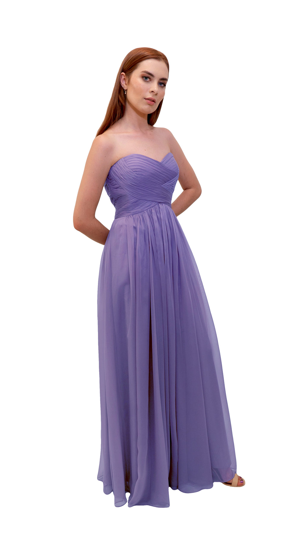 Bariano Gathered Maxi dress Lavender side