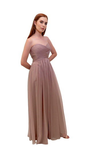 Bariano Gathered Maxi dress Mink side