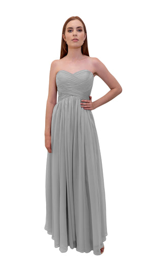 Bariano Gathered Maxi dress Silver front