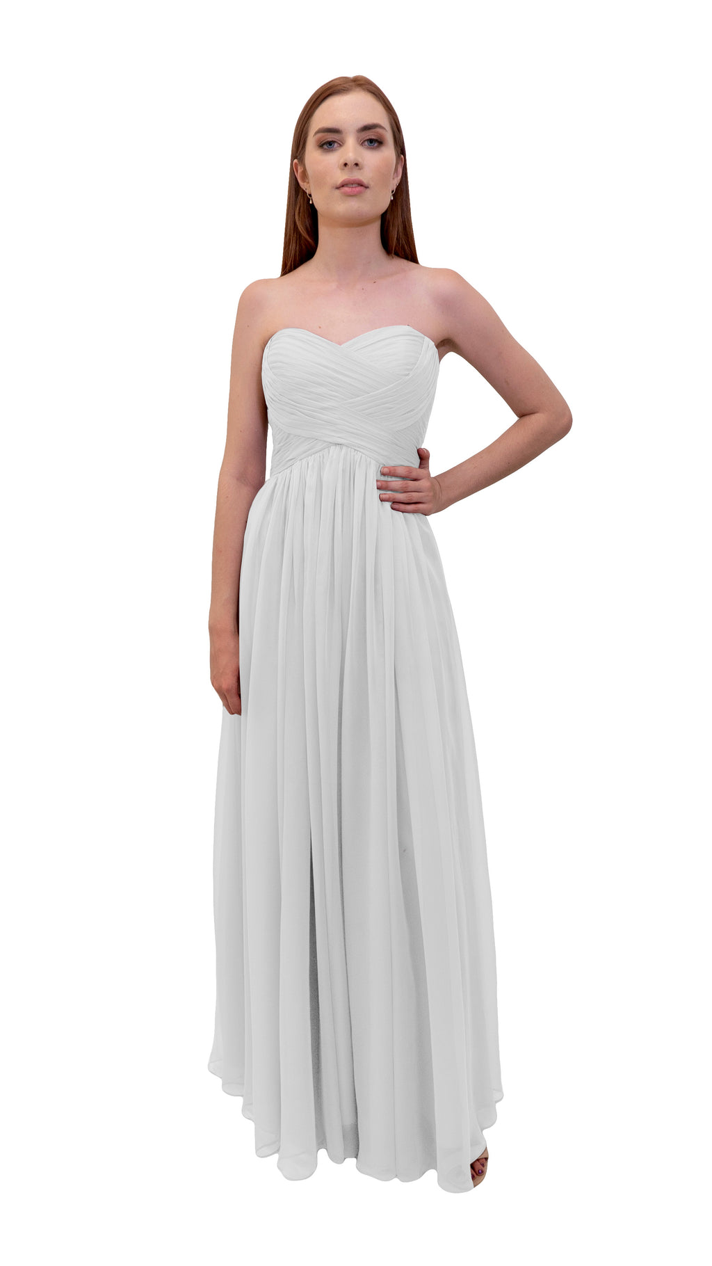 Bariano Gathered Maxi dress white front