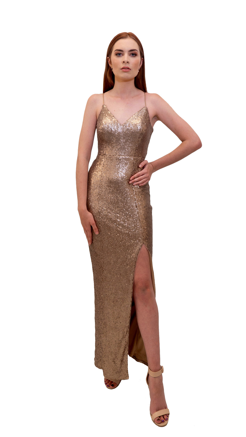 Bariano Hailee Sequin Dress Gold front