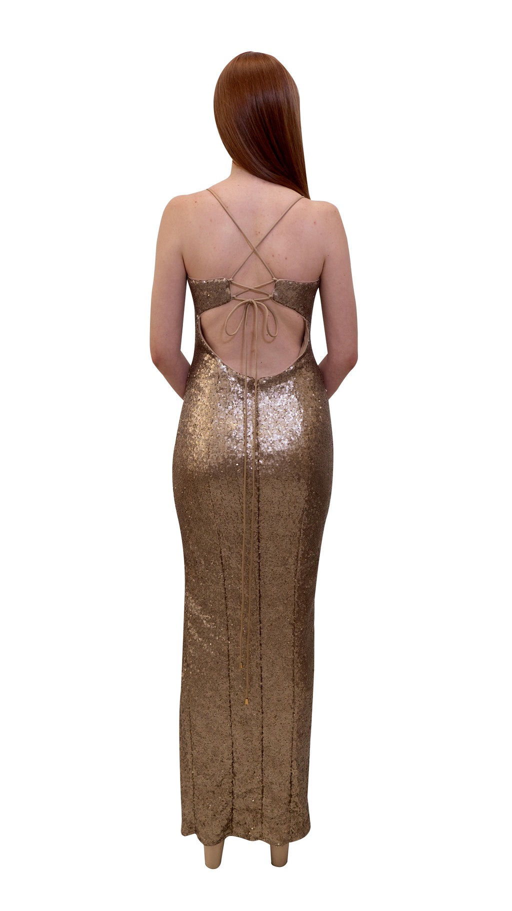 Bariano Hailee Sequin Dress Gold back