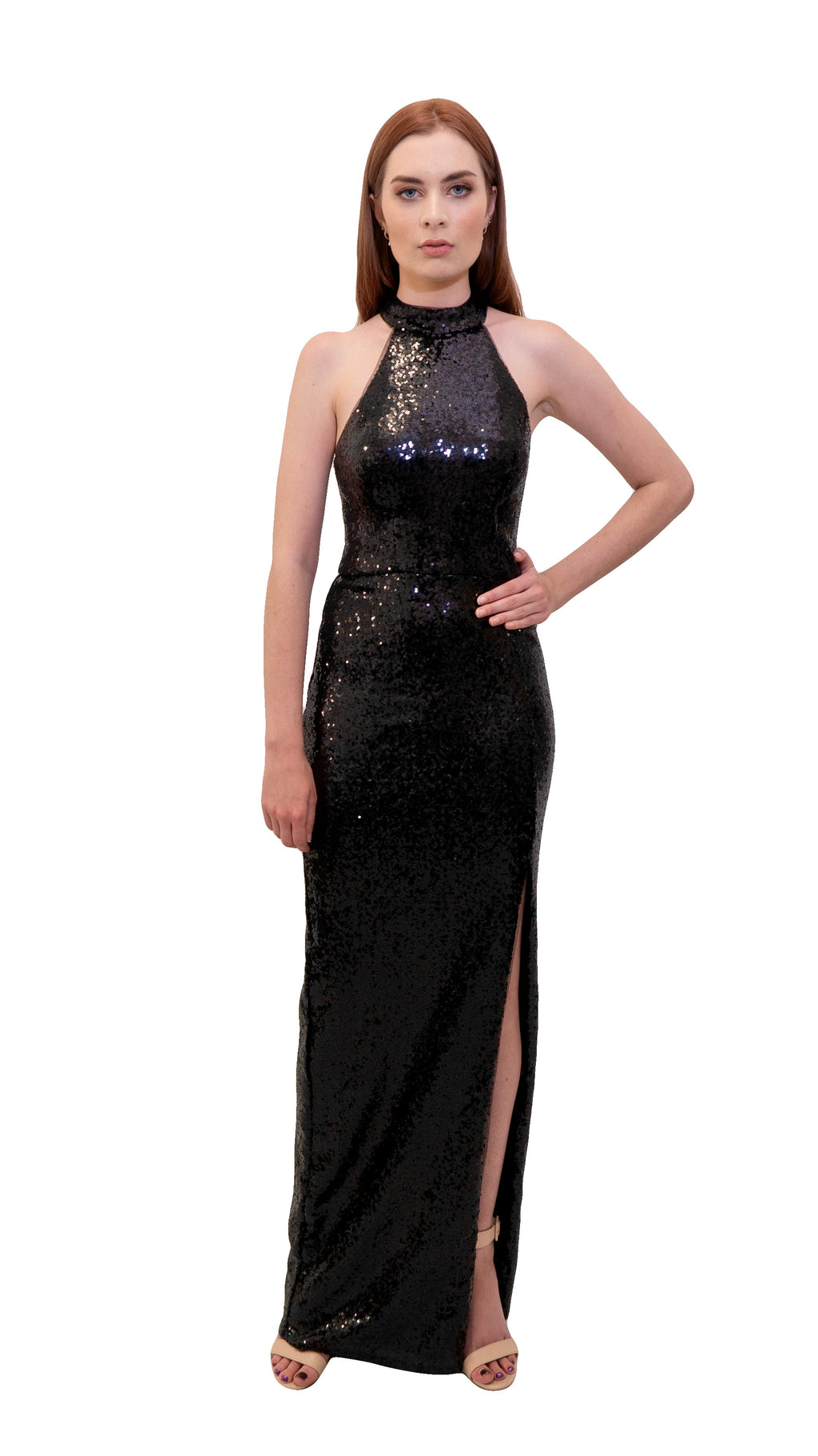 Bariano Heather high neck sequin dress Black