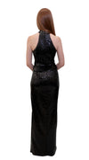 Bariano Heather high neck sequin dress Black back