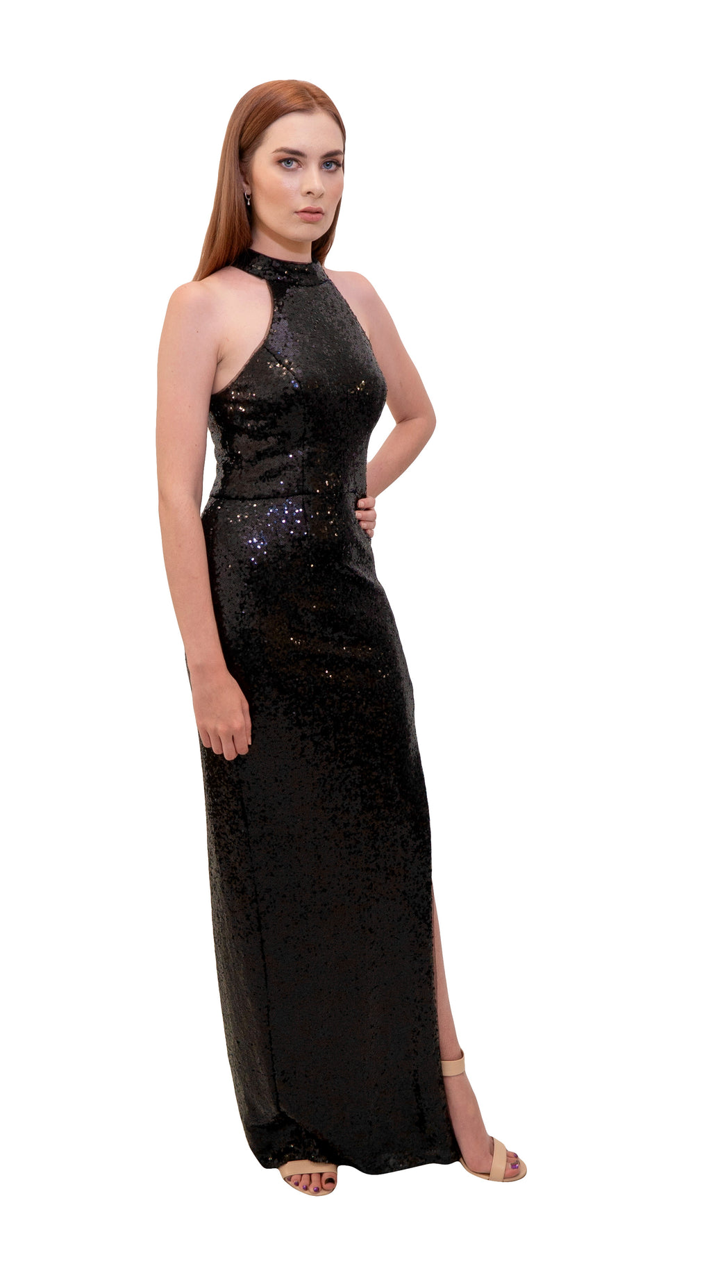 Bariano Heather high neck sequin dress Black side