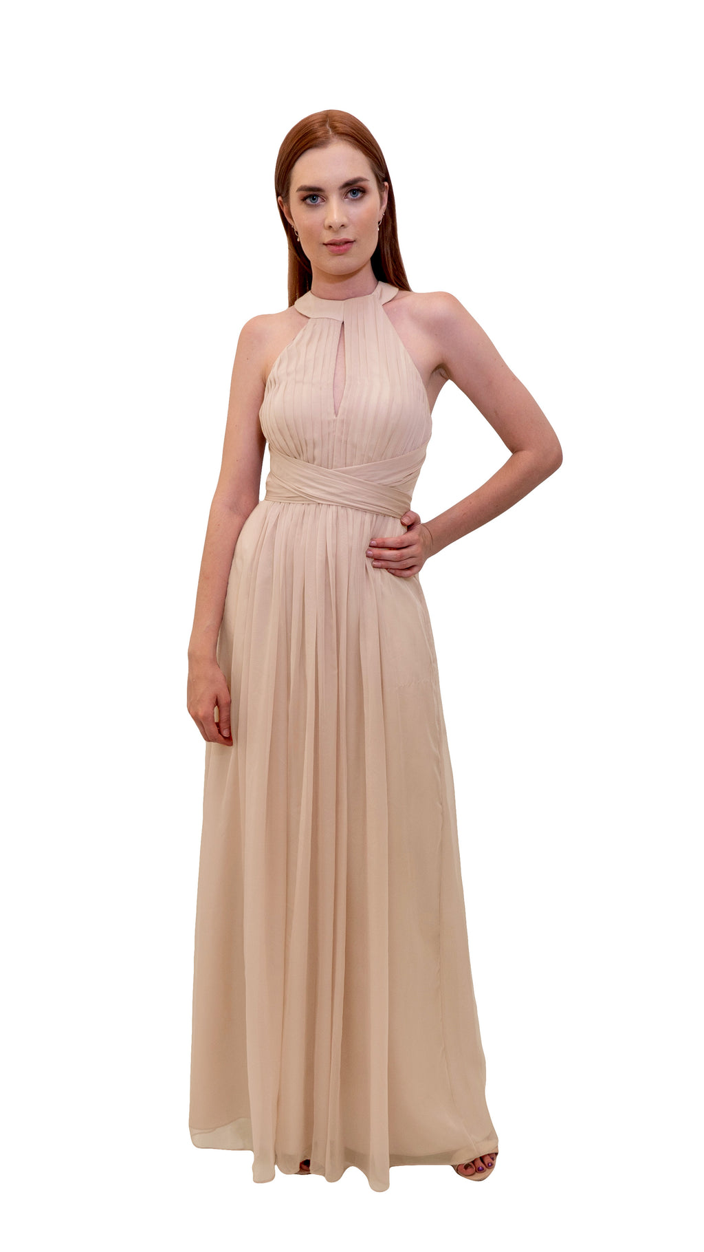 Bariano High Neck Dress Champagne