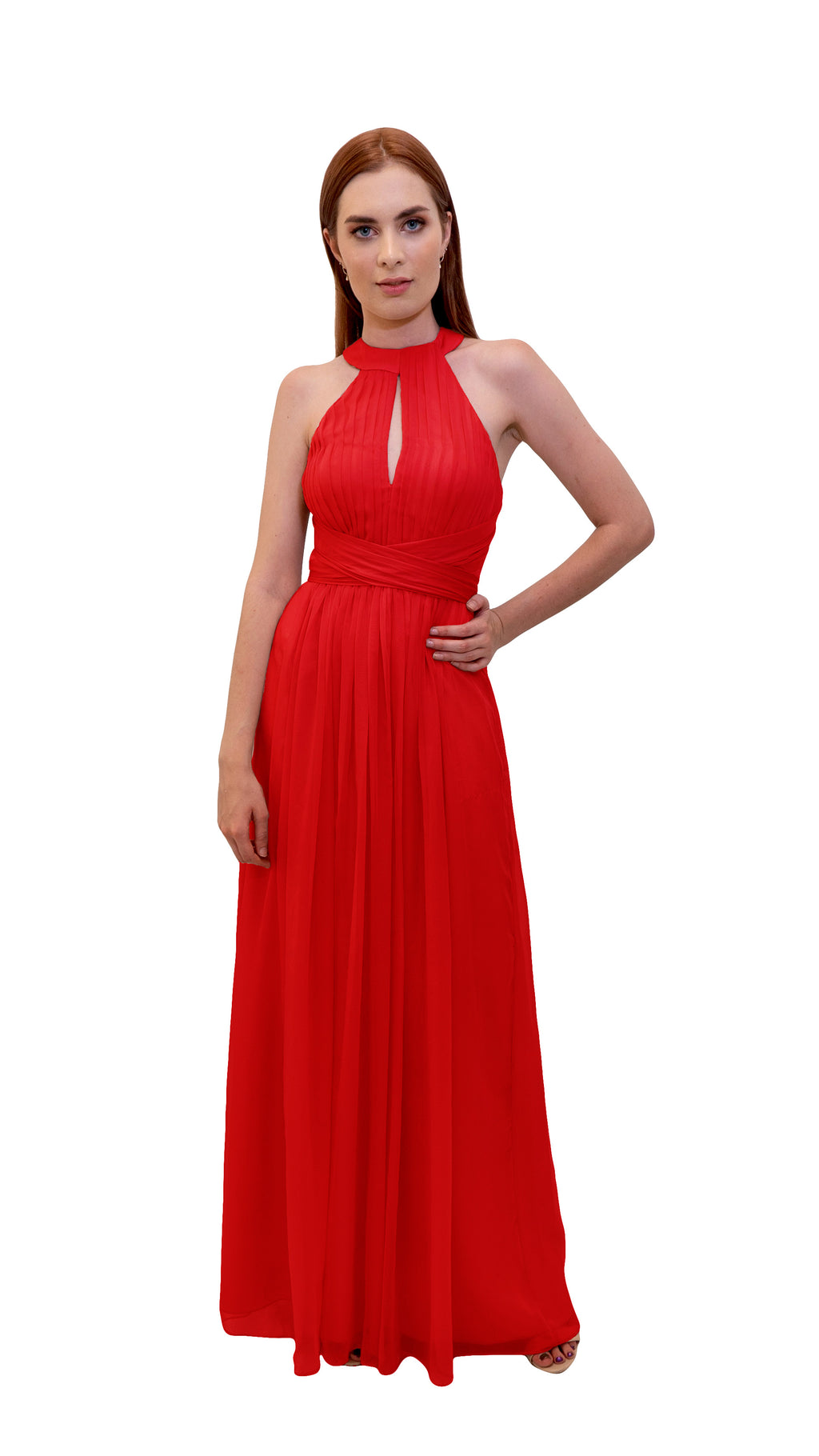 Bariano High Neck Dress Cherry