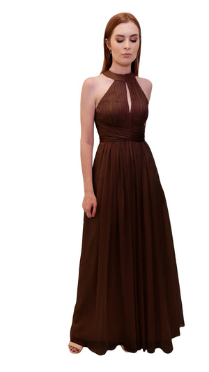 Bariano High Collar Dress Chocolate