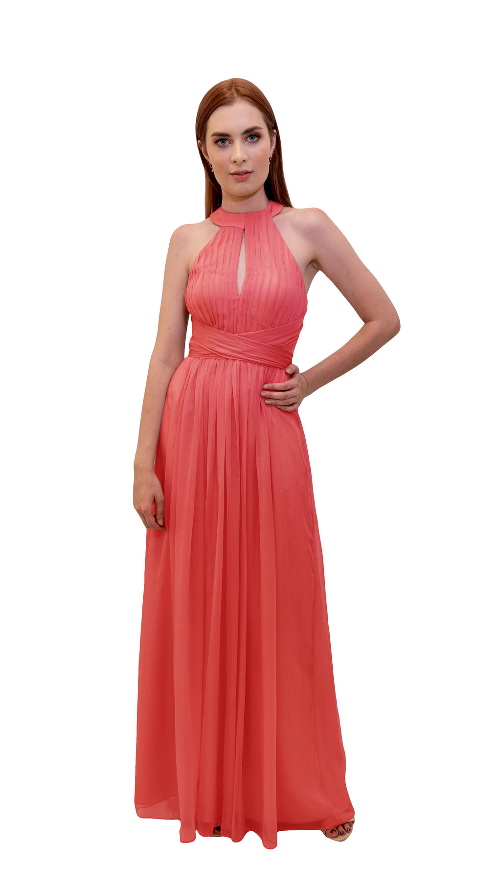 Bariano High Collar dress Coral