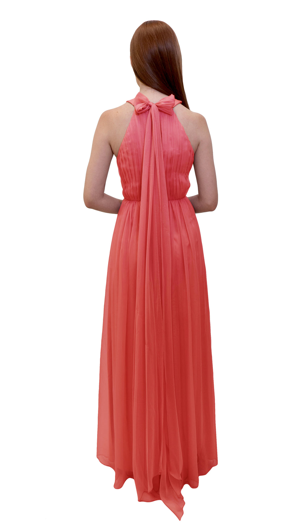 Bariano High Collar dress Coral back