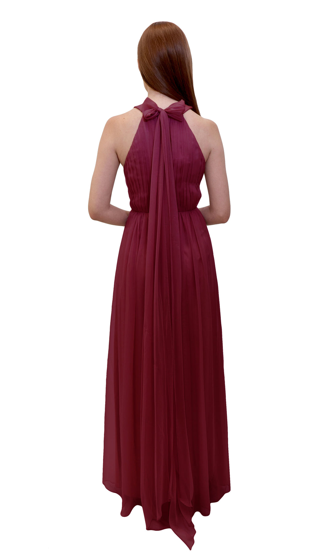 Bariano High Collar dress Cranberry back