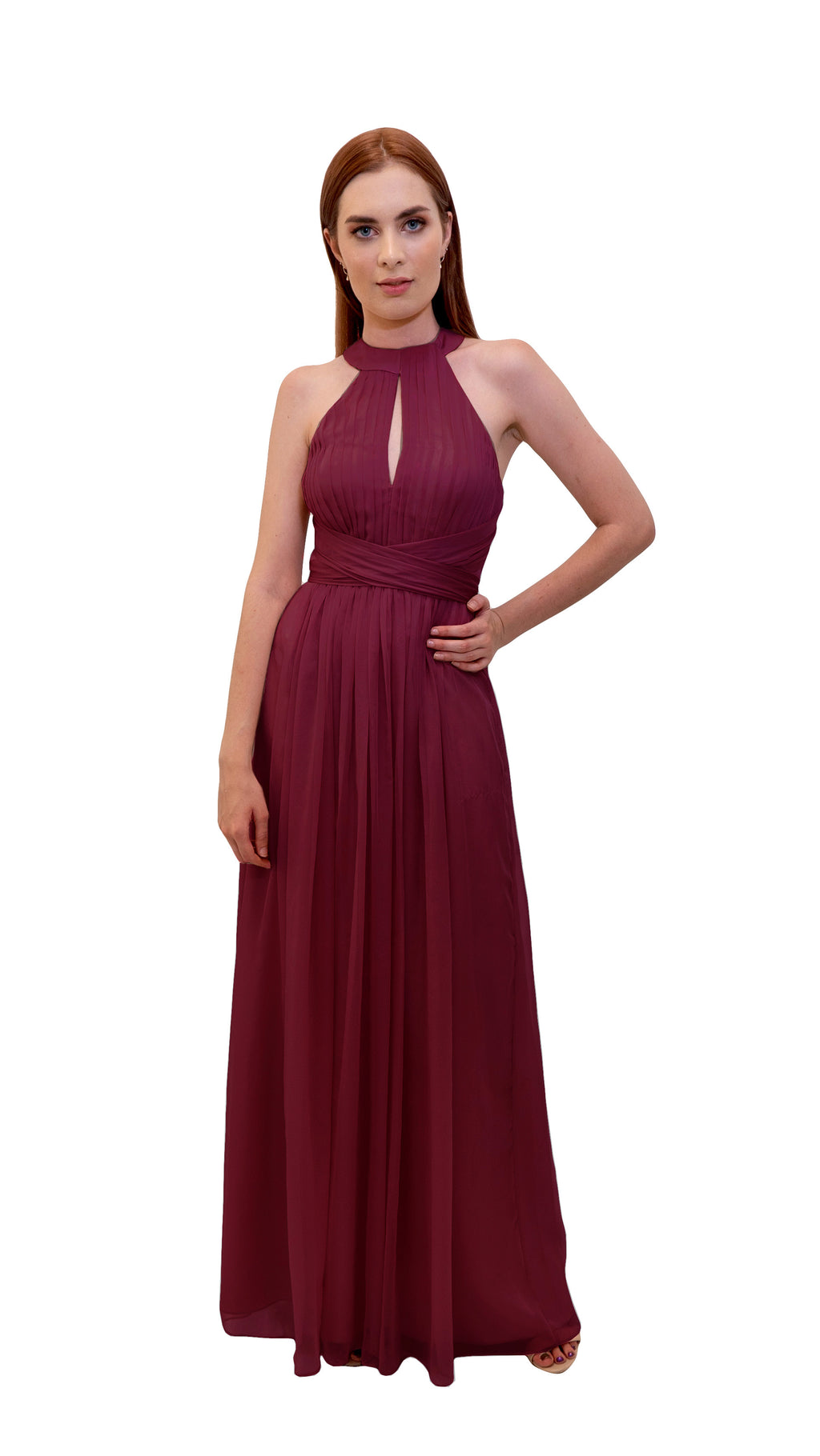 Bariano High Collar dress Cranberry