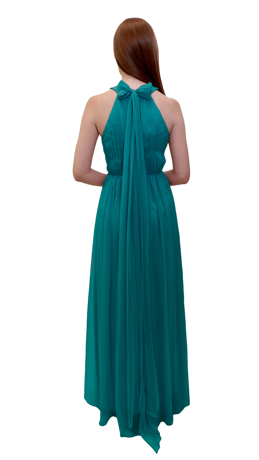 Bariano High Collar dress Teal back