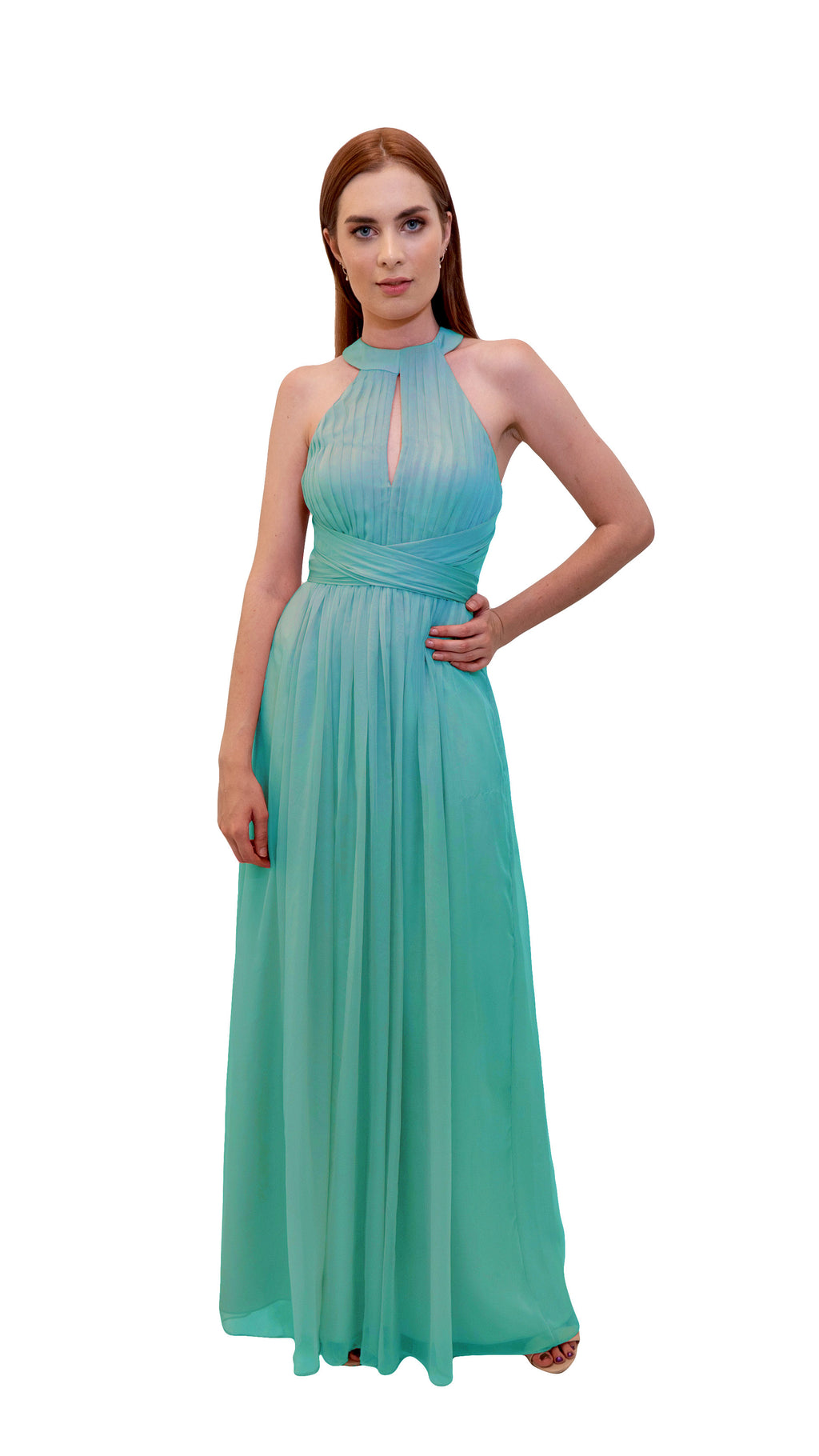Bariano High Collar dress Tiffany Green